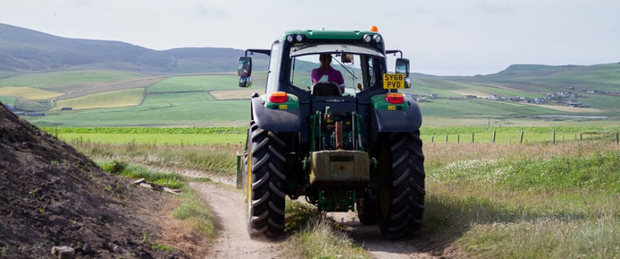 Image showing a women in agriculture driving a tractor