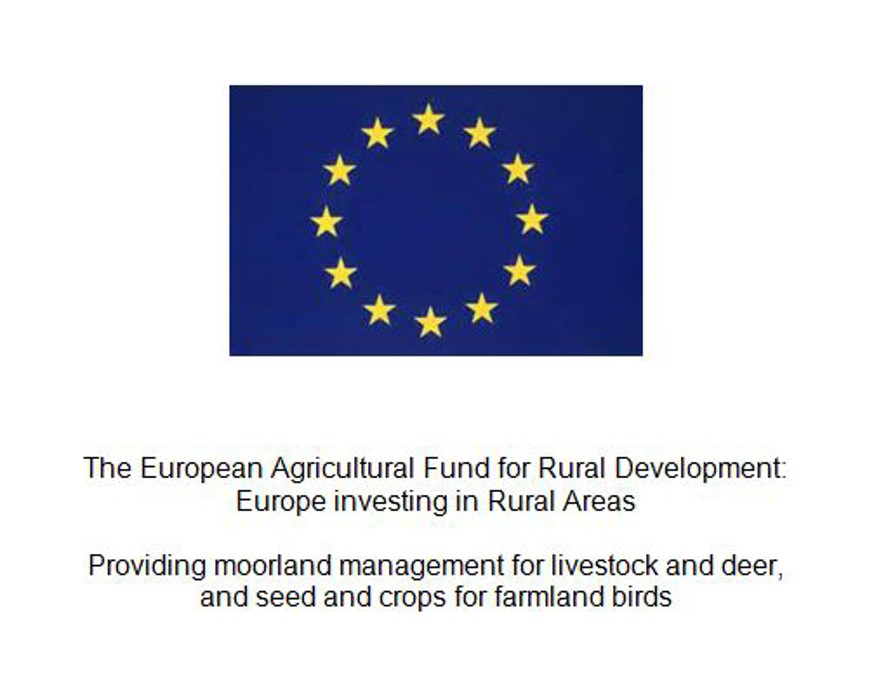 Suggested plaque text: The European Agricultural Fund for Rural Development: Europe investing in Rural Areas. Providing moorland management for livestock and deer, and seed and crops for farmland birds