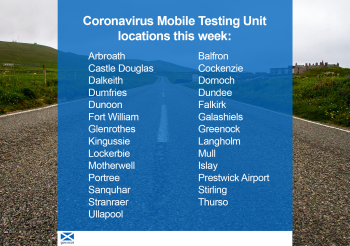 Mobile testing unit locations 1 June
