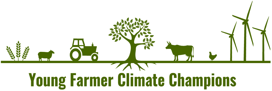Icon displaying green Young Farmer Climate Champion logo.