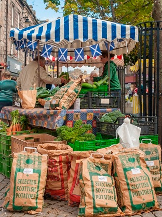 A picture of farmers market; (c) Scotland Food & Drink (SF&D)